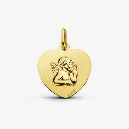 Médaille Cœur Ange de Raphael Or Jaune 18 carats - 18 mm
