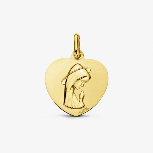 Médaille Cœur Vierge Or Jaune 18 carats - 18 mm