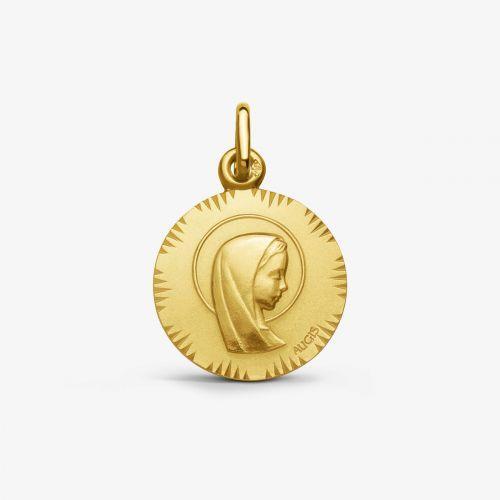 Médaille Vierge Jeune auréolée - Or Jaune 18 carats - 16mm