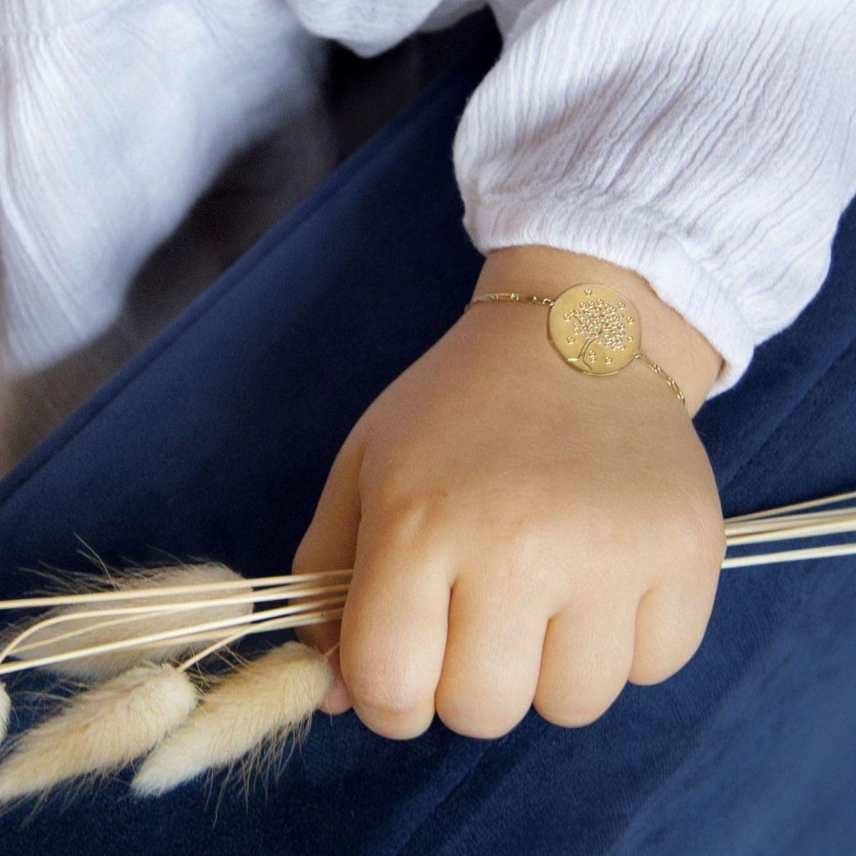 Bracelet enfant arbre aux cœurs en Or jaune 18 carats - 14 cm