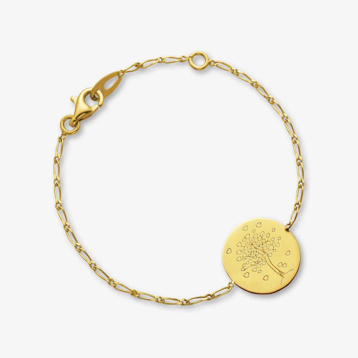 Bracelet médaille arbre aux cœurs en Or jaune 18 carats - 14 cm