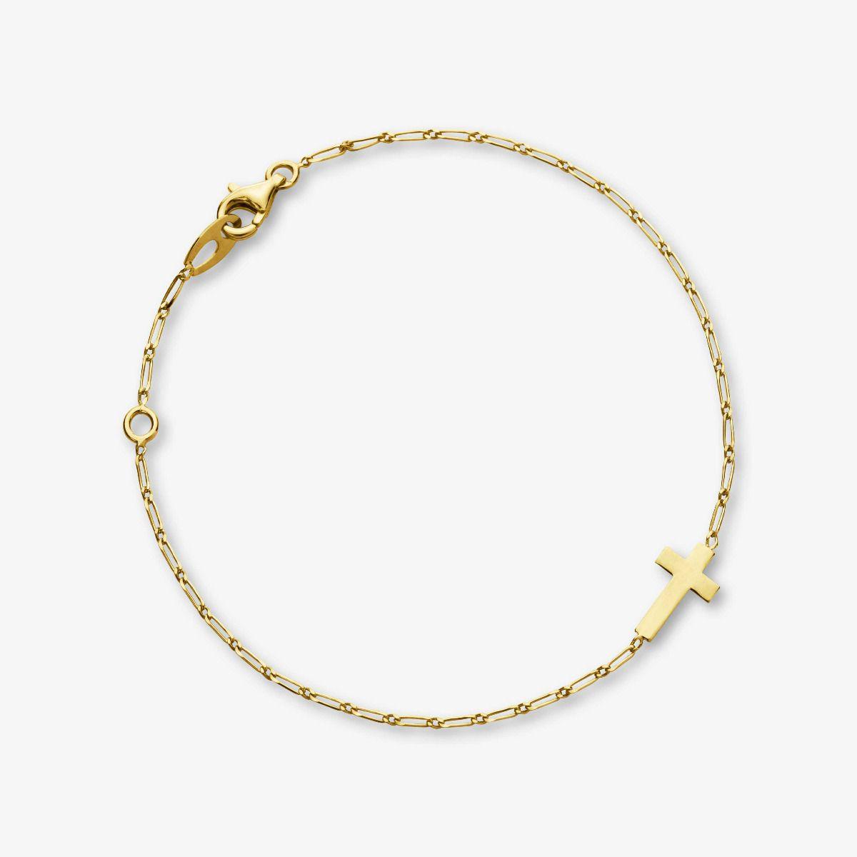 Bracelet Croix en Or Jaune 18 carats - 18 cm