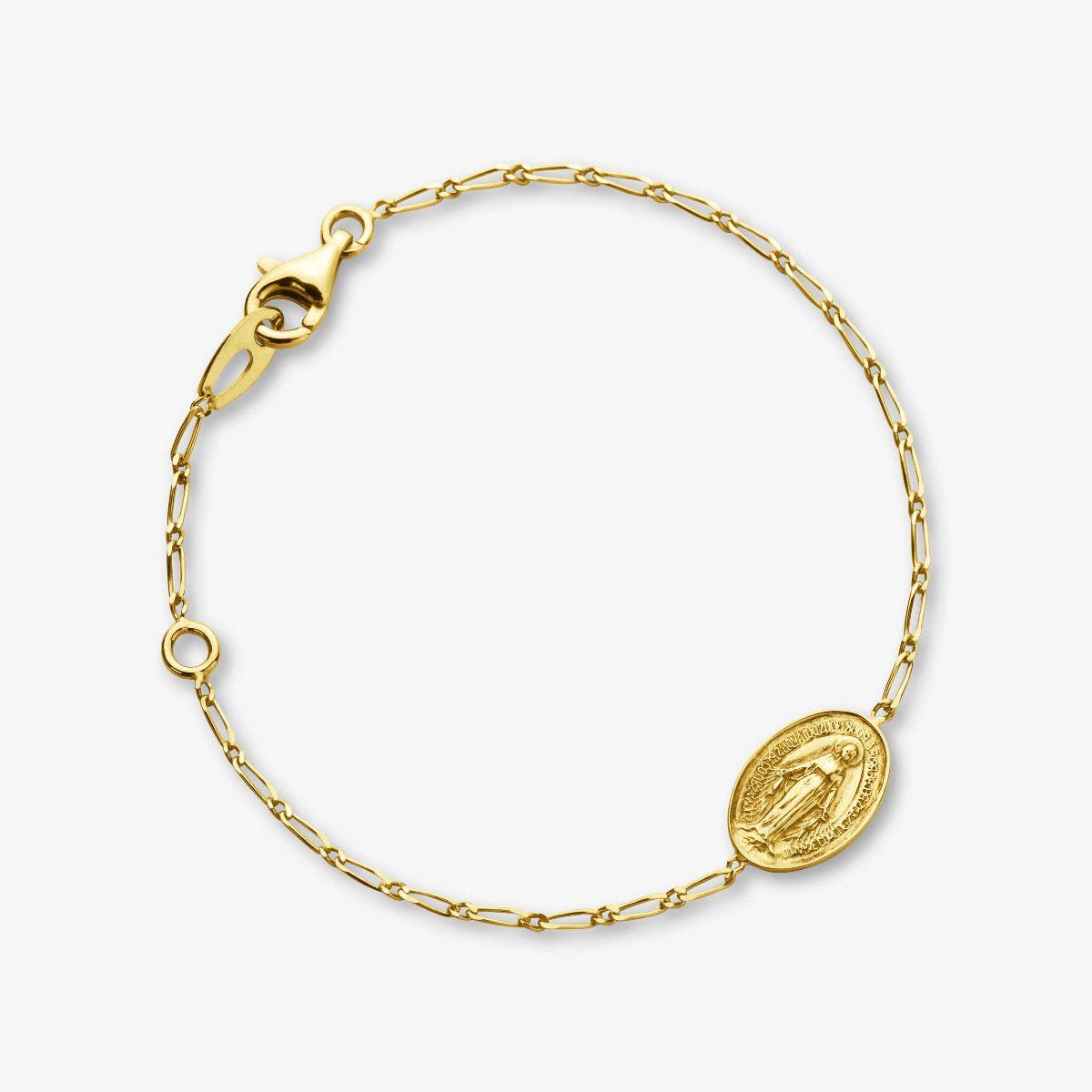 Bracelet médaille Miraculeuse en Or Jaune 18 carats - 18 cm face