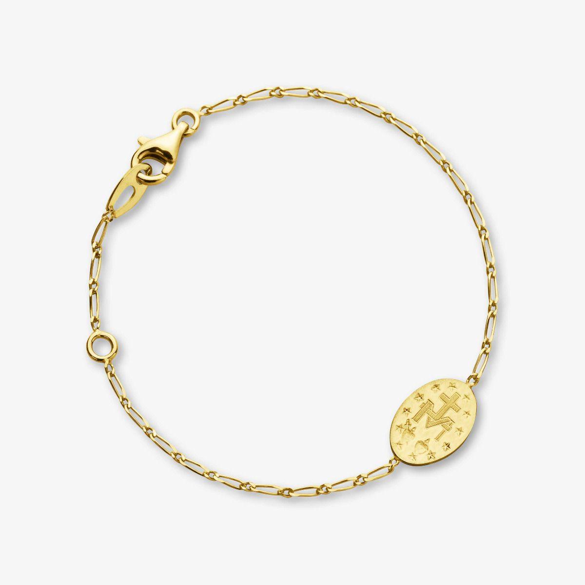 Bracelet médaille Miraculeuse en Or Jaune 18 carats - 18 cm revers