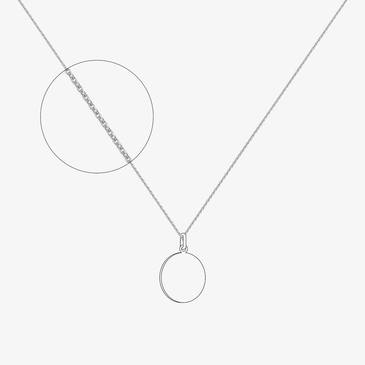 Chaîne maille forçat rond - épaisseur 1,2 mm - Or blanc 18 carats - 50 cm