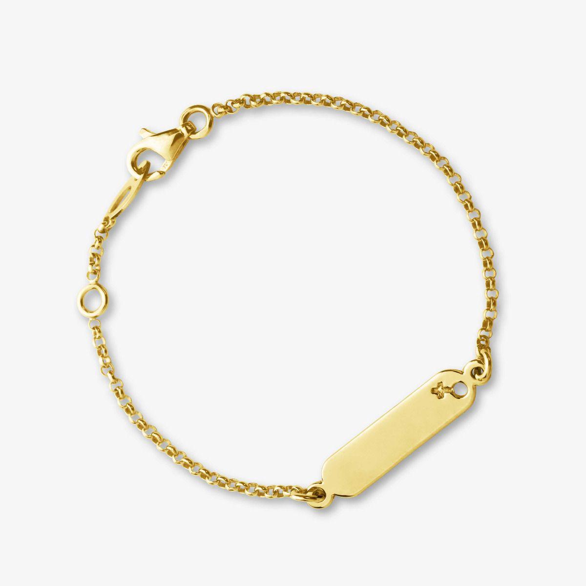 Gourmette Symbole Fille en Or Jaune 18 carats - 14 cm