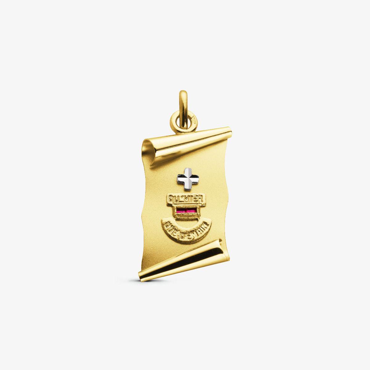 La Médaille d'Amour Parchemin en Or Jaune 18 carats - 19 mm