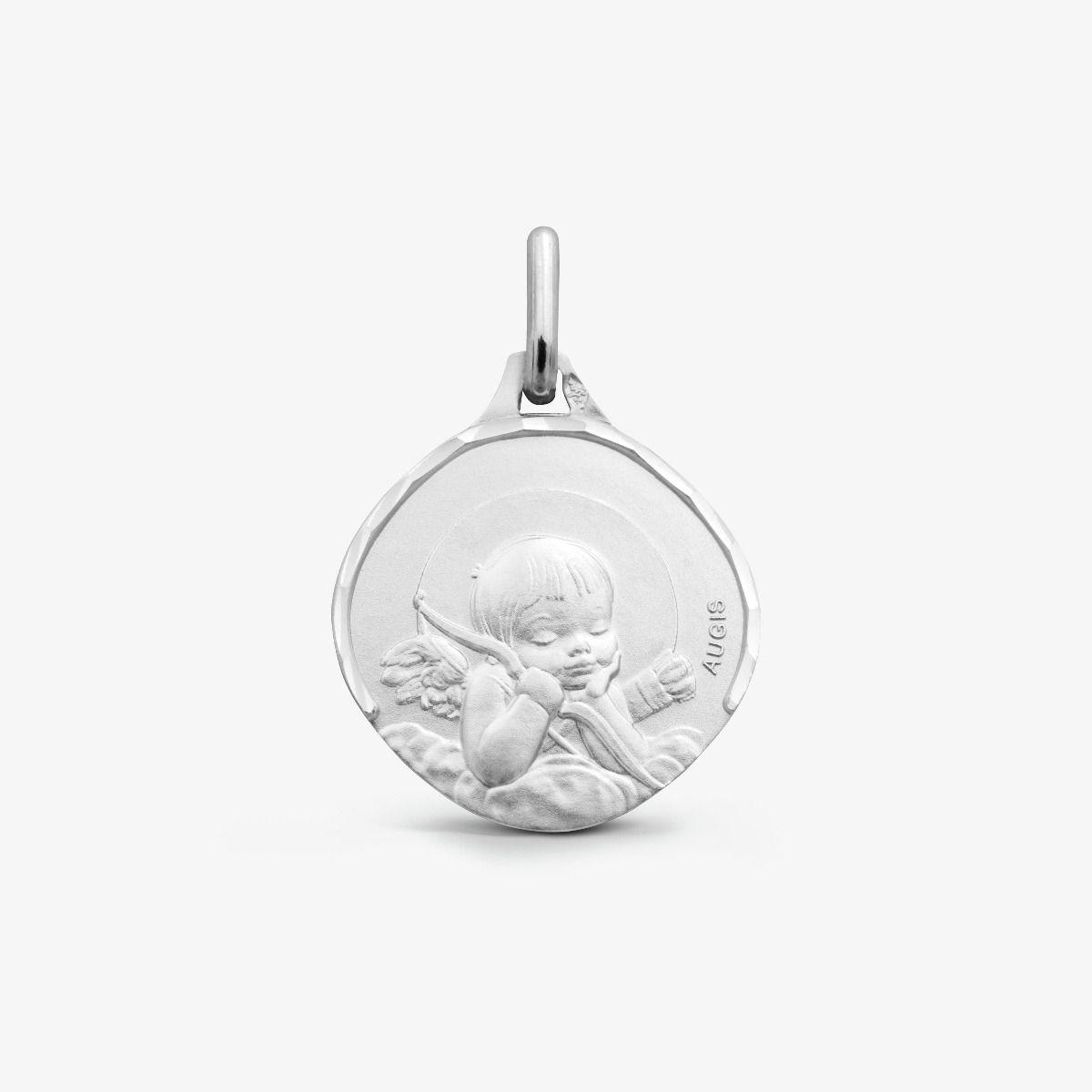 Médaille Ange à l'arc Or Blanc 18 carats - 15 mm