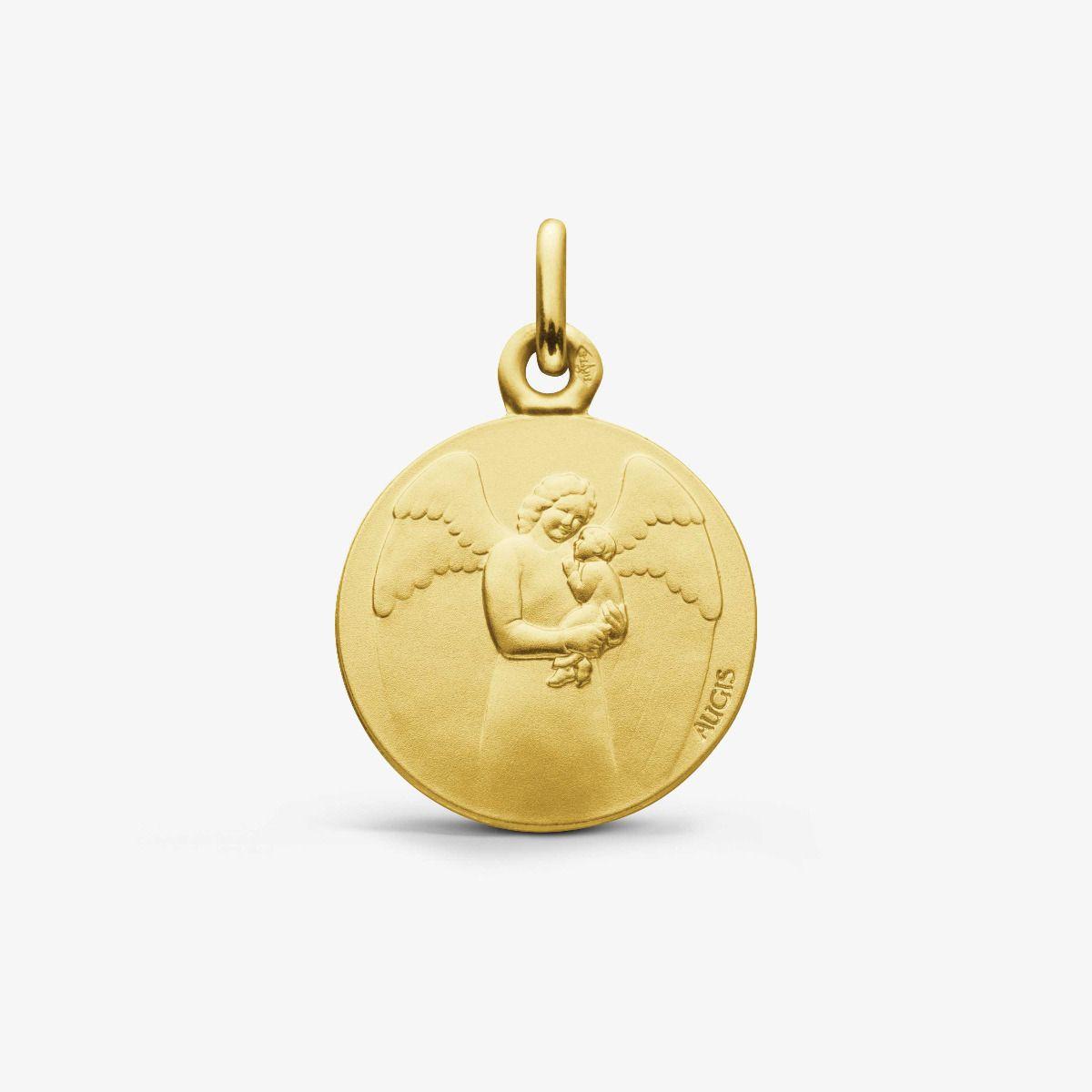Médaille Ange Gardien Bébé Or Jaune 18 carats - 16 mm