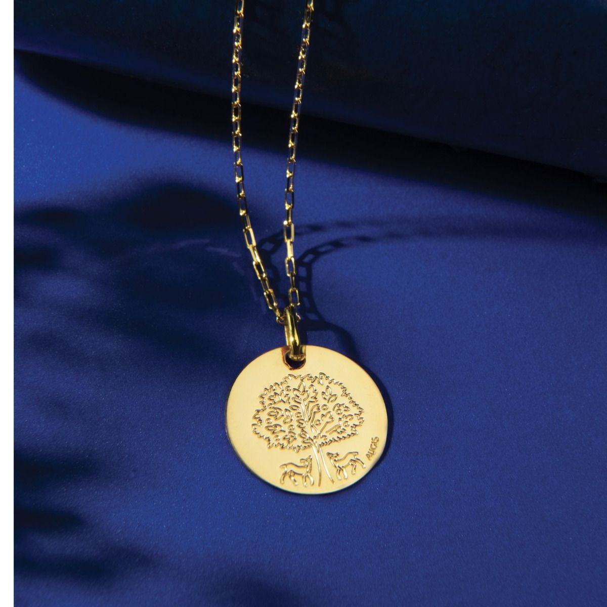 Médaille de baptême arbre de vie biches