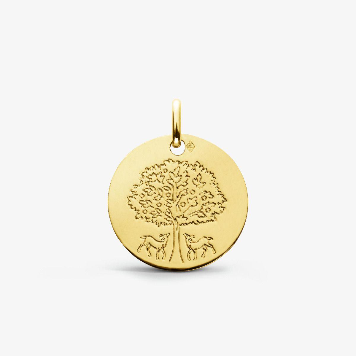 Médaille arbre de vie aux biches - Or Jaune 18 carats - 16mm