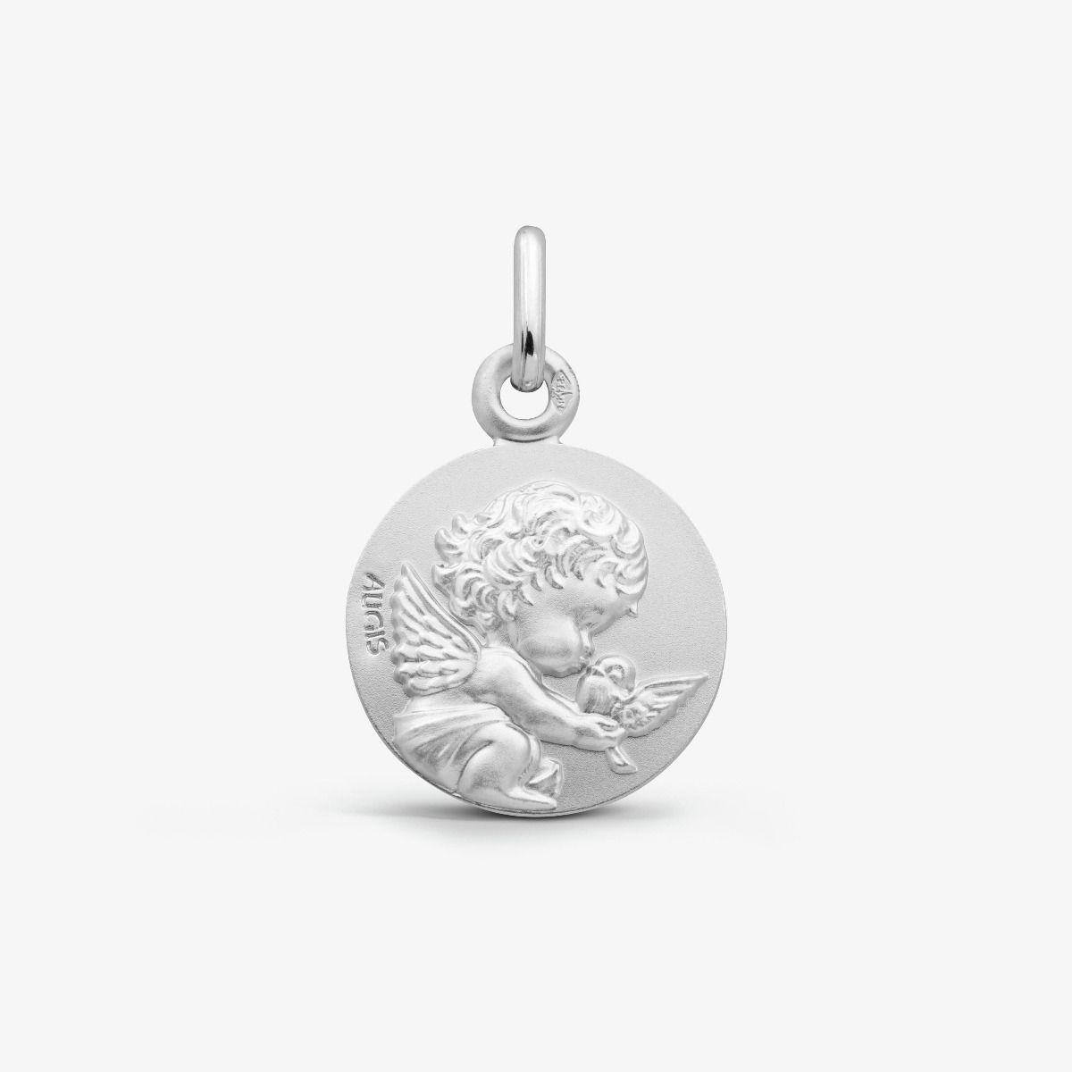 Médaille Ange à la Colombe - Les Loupiots Or Blanc 18 carats - 14 mm