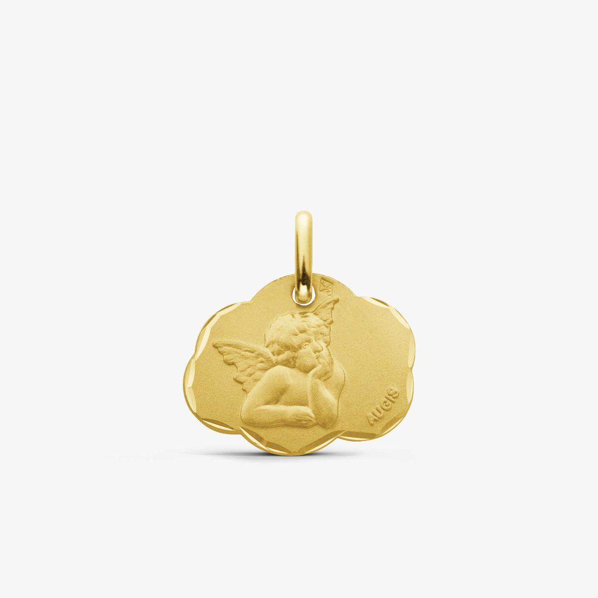 Médaille nuage Ange de Raphaël Or Jaune 18 carats - 17 mm