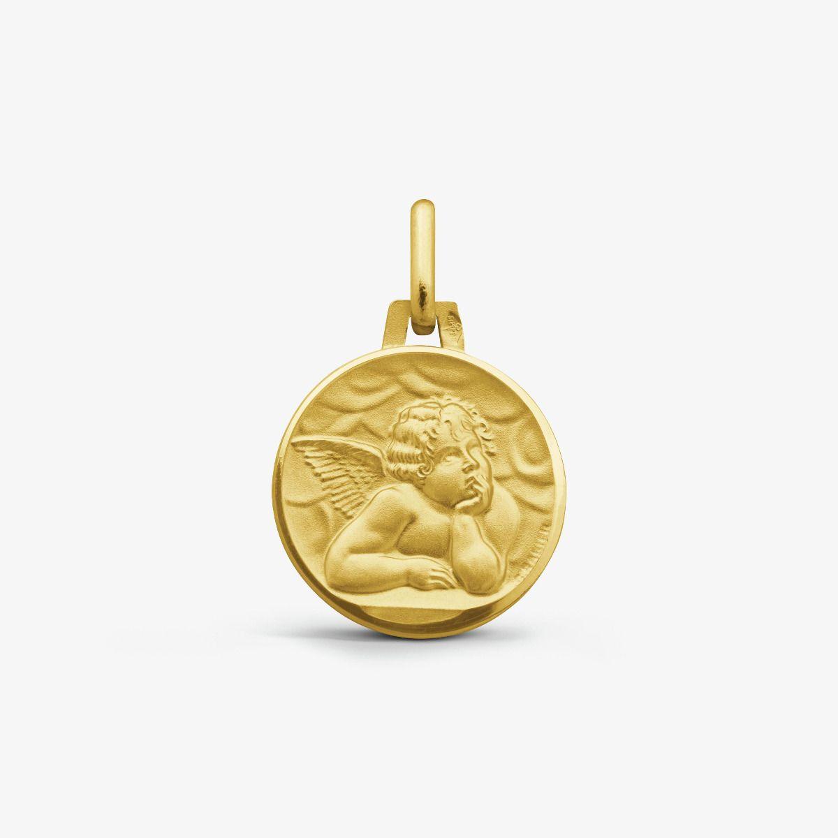 Médaille Ange de Raphaël Or Jaune 9 carats - 14 mm