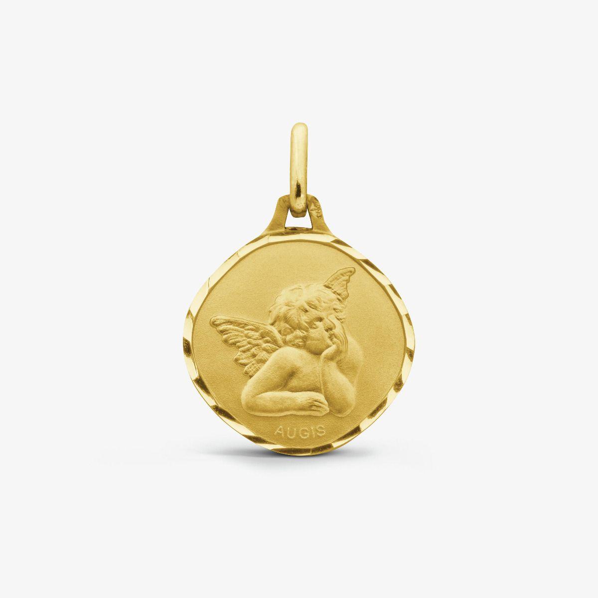 Médaille Ange de Raphaël Or Jaune 18 carats - 15 mm
