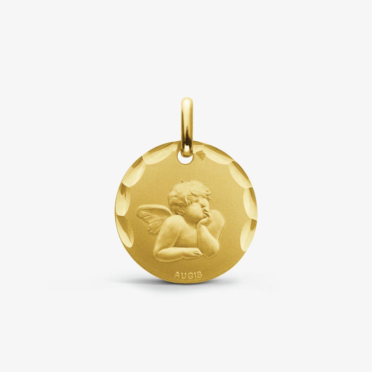 Médaille Ange de Raphaël Or Jaune 9 carats - 16 mm