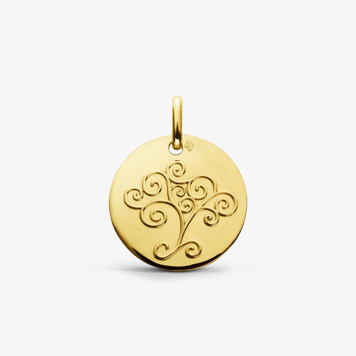 Médaille Arbre De Vie arabesque en Or Jaune 18 carats - 16 mm