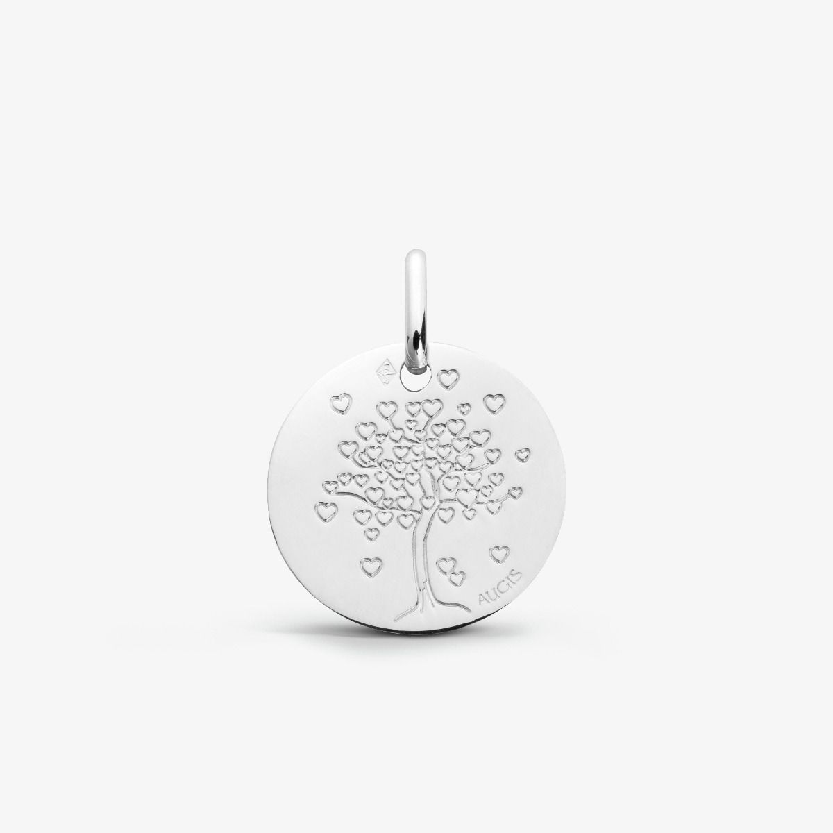 Médaille Arbre aux cœurs Or Blanc 18 carats - 14 mm