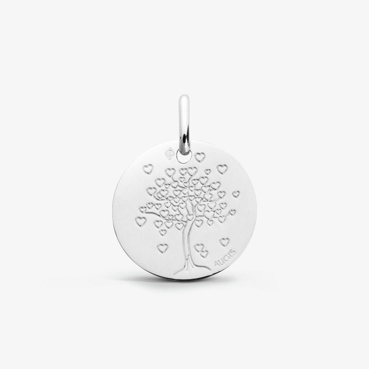 Médaille Arbre aux cœurs Or Blanc 18 carats - 16 mm