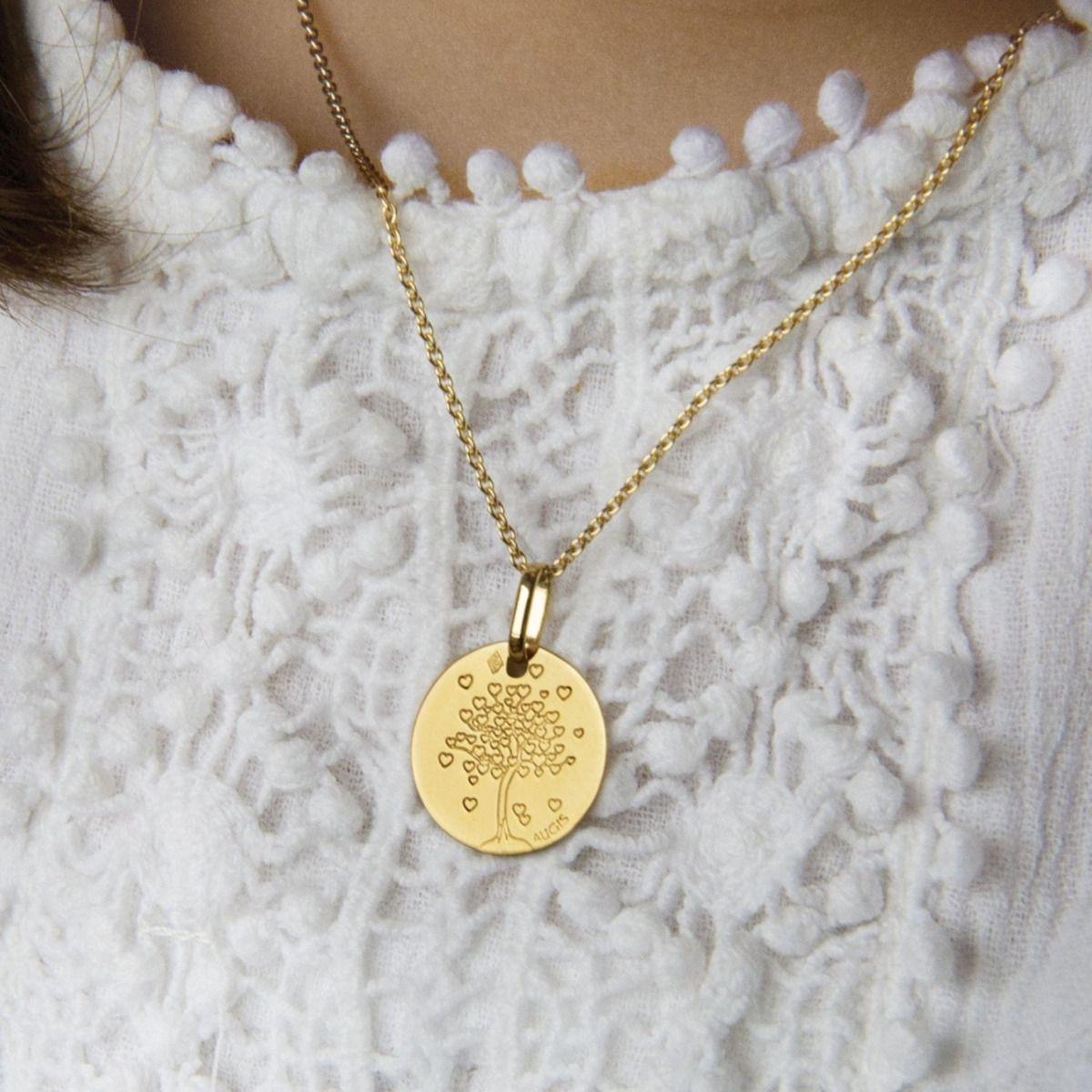 Médaille Baptême Arbre aux cœurs or jaune 18 carats
