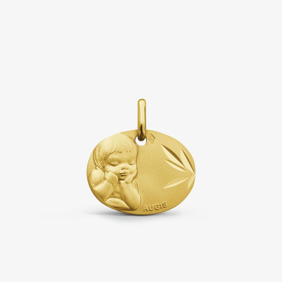 Médaille Chérubin rêveur Or Jaune 9 carats - 16 mm
