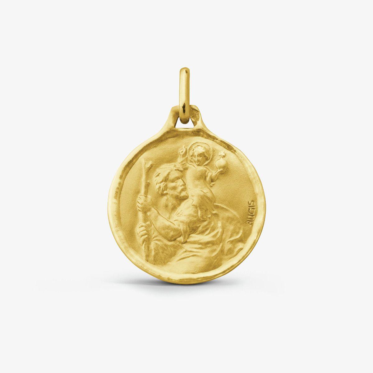 Médaille ronde Saint Christophe Or Jaune 18 carats - 18 mm