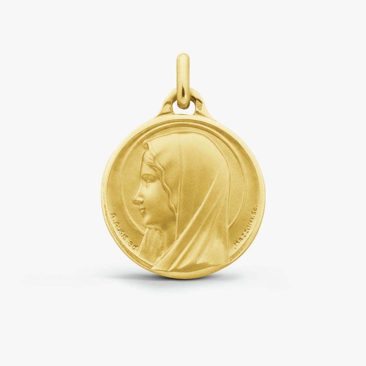 Médaille ronde Santa Maria Or Jaune 18 carats - 21 mm