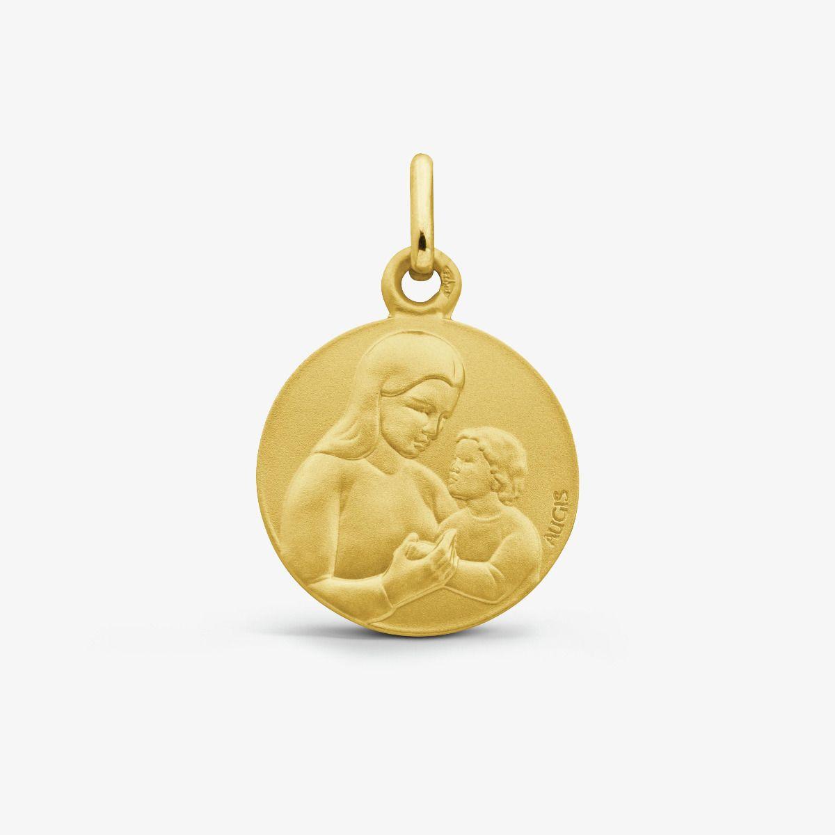 Médaille Vierge à l'Enfant Or Jaune 18 carats - 16 mm