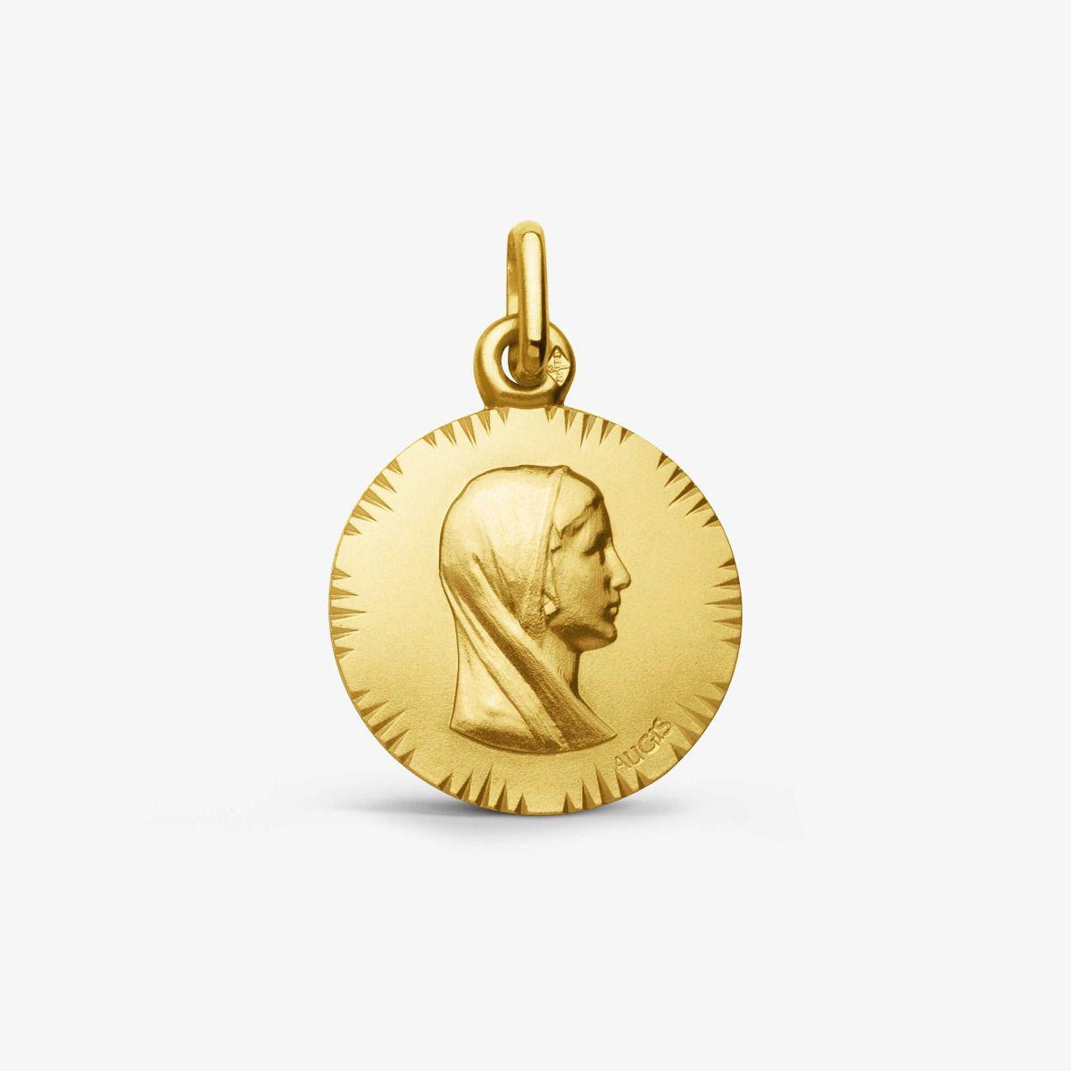 Médaille Vierge au voile - Or Jaune 18 carats - 16mm