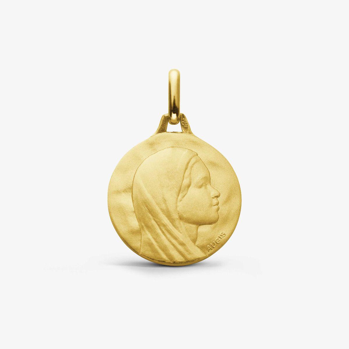 Médaille Vierge au Voile Or Jaune 18 carats - 16 mm