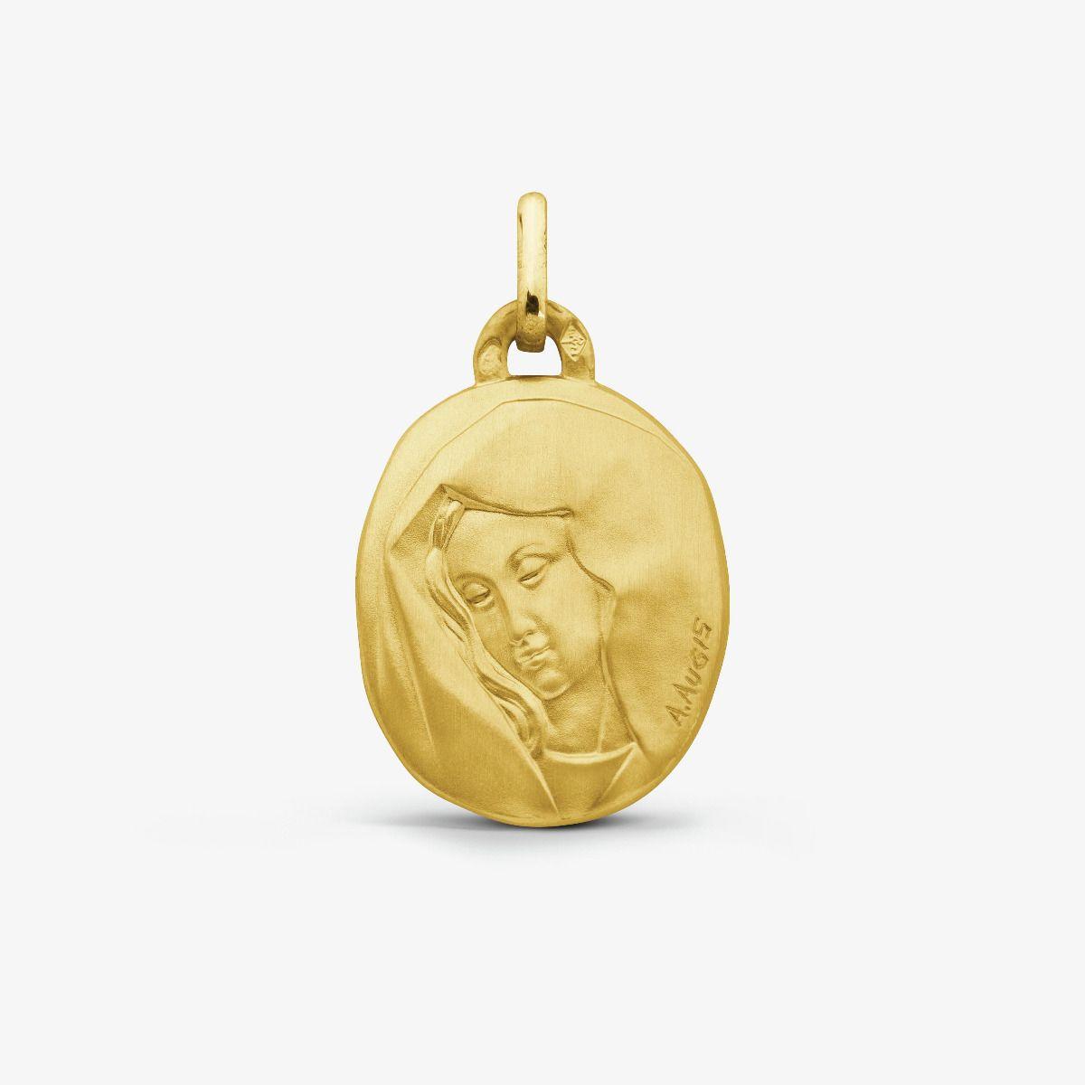 Médaille Vierge au Voile Or Jaune 18 carats - 18 mm