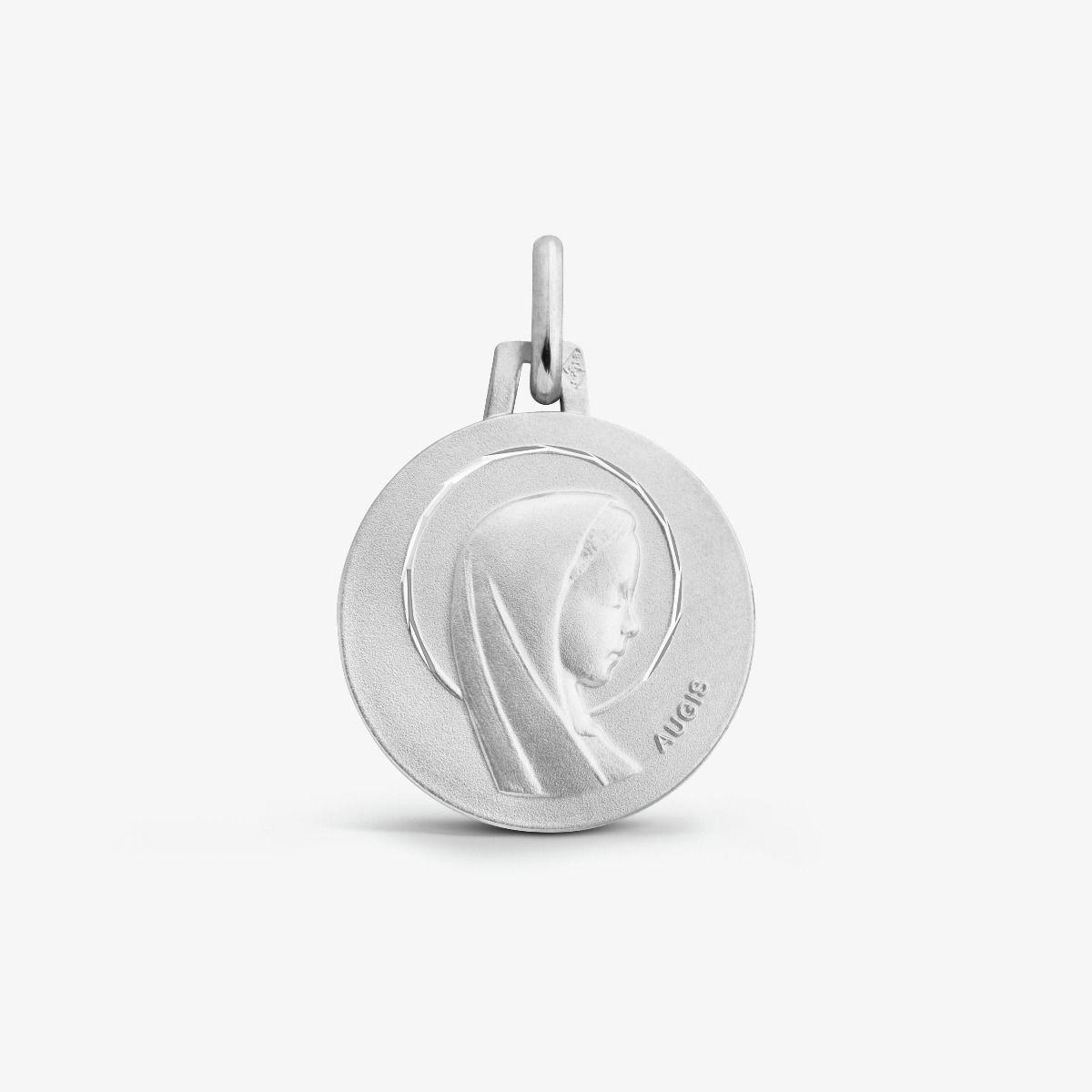 Médaille ronde Vierge Auréolée Or Blanc 18 carats - 16 mm