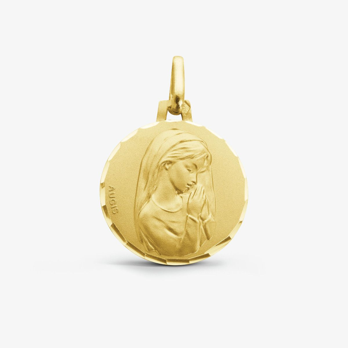 Médaille Vierge Jeune mains jointes Or Jaune 18 carats -16 mm