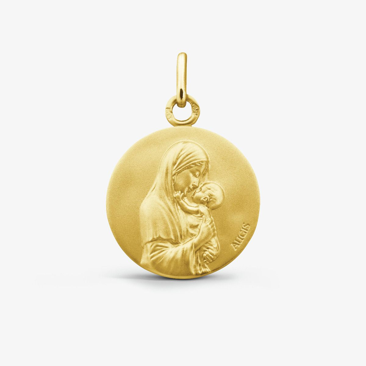Médaille Vierge Maternelle Or Jaune 18 carats - 18 mm