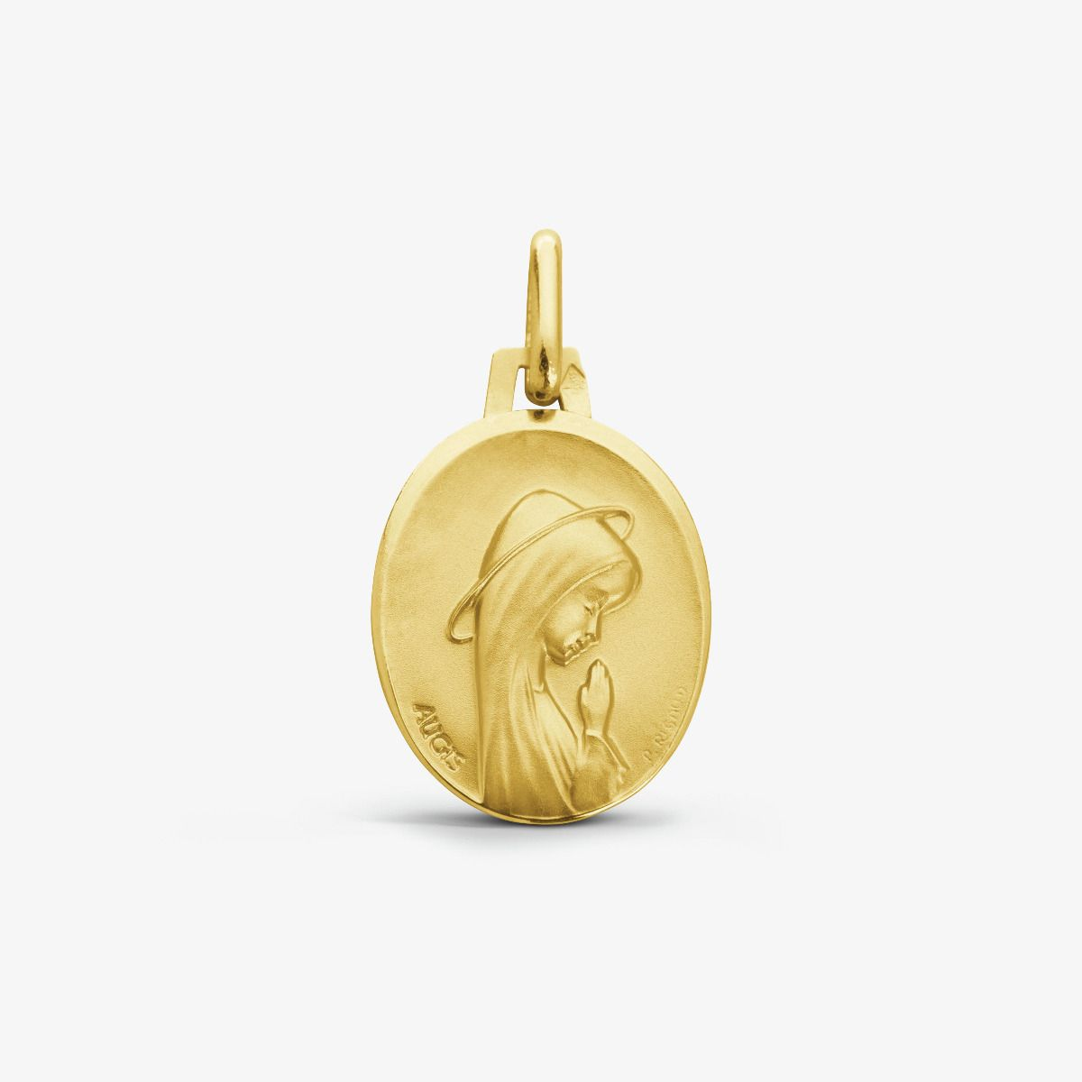 Médaille Vierge Priante Or Jaune 9 carats - 16 mm