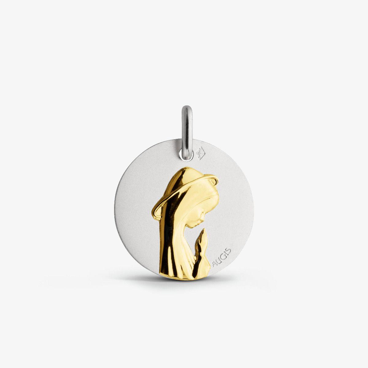 Médaille Vierge Priante Deux Ors 18 carats - 16 mm