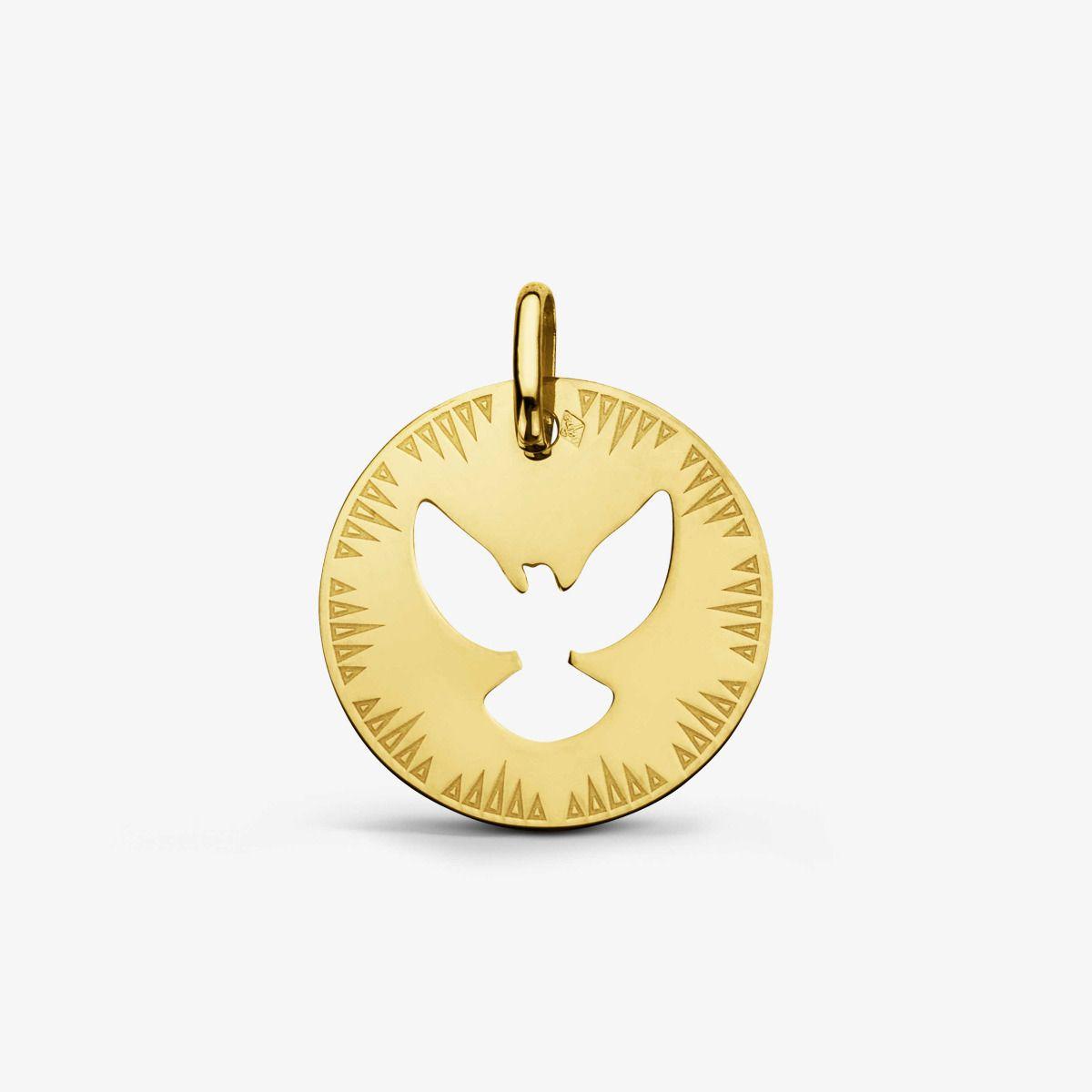 Médaille Colombe ajourée Or Jaune 18 carats - 18 mm