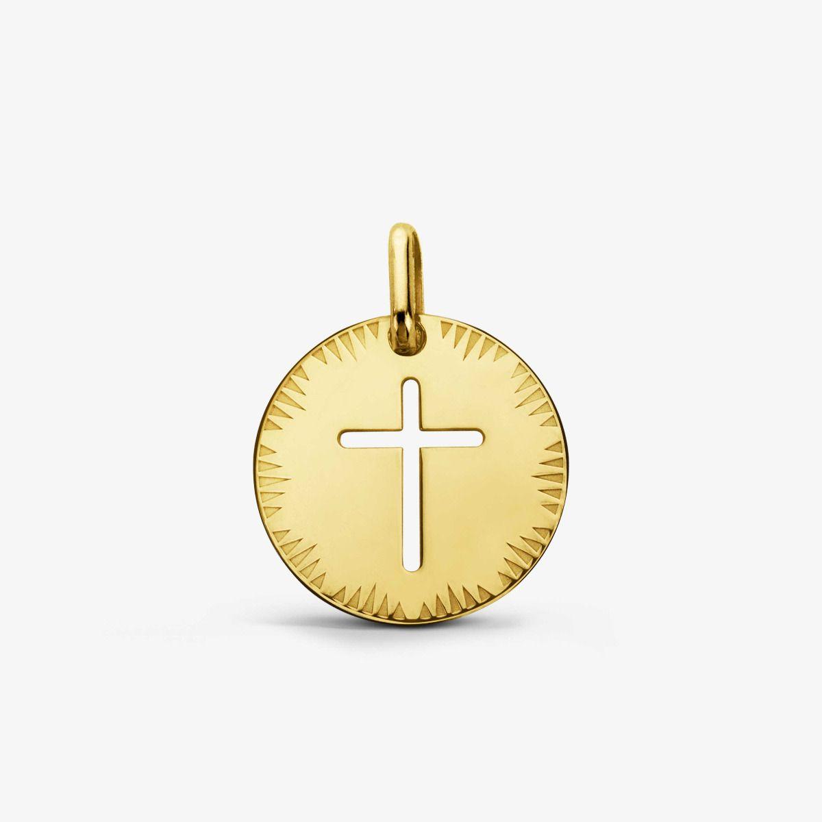 Médaille Croix ajourée Or Jaune 18 carats - 16 mm