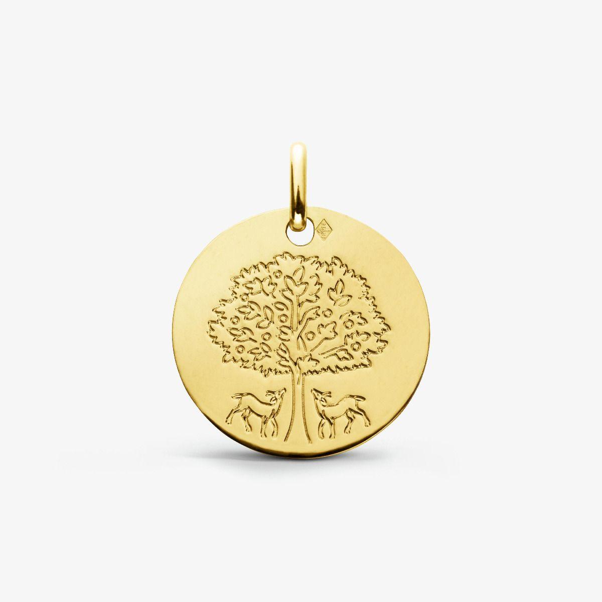 Médaille Arbre de Vie aux Biches Or Jaune 18 carats - 18 mm