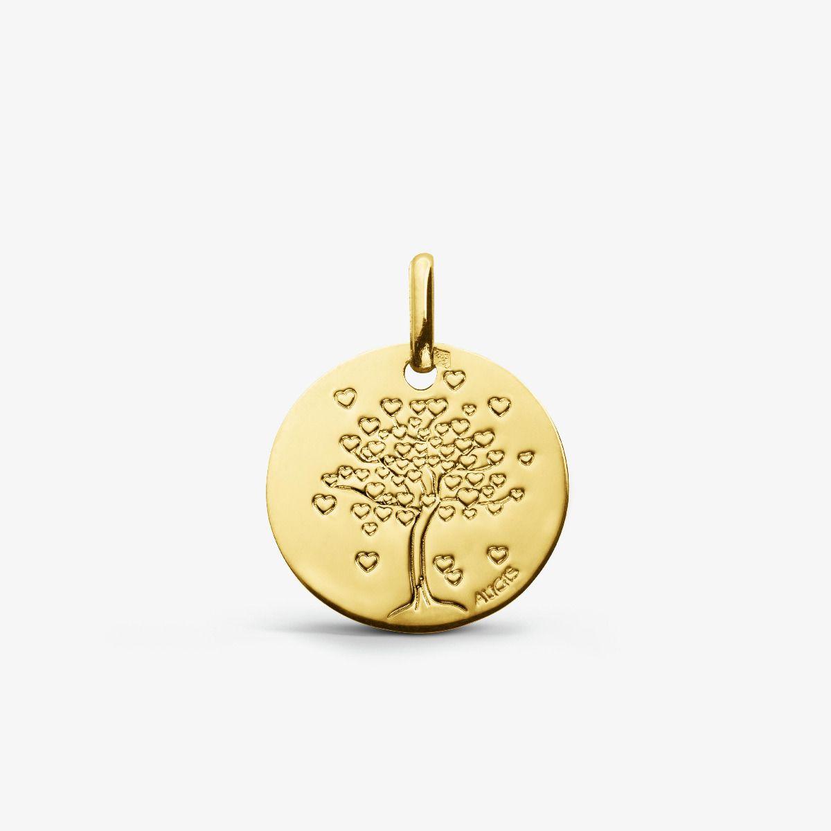Médaille Arbre aux cœurs en Or Jaune 18 carats - 14 mm