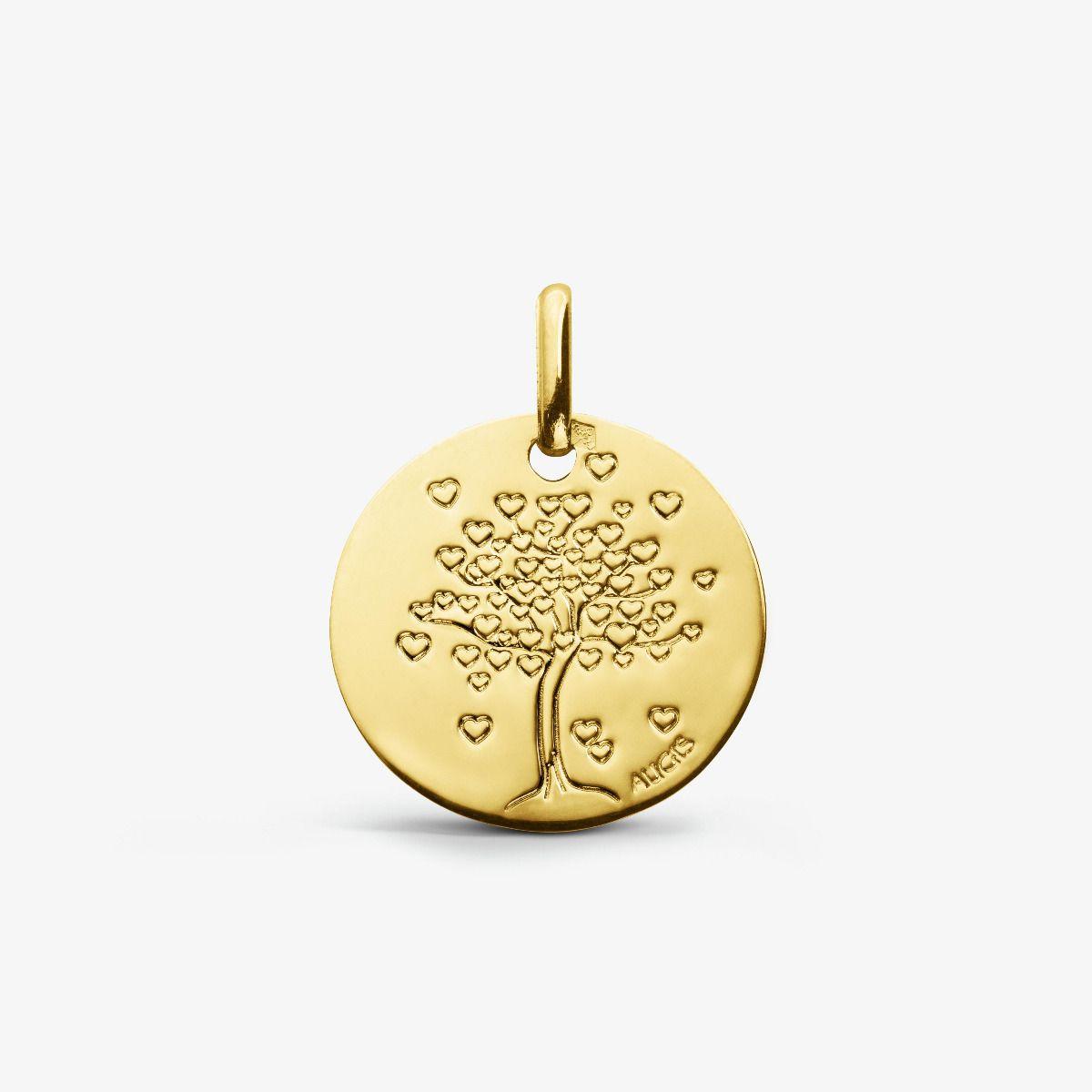 Médaille de baptême Arbre de Vie avec cœurs en or jaune 18 carats 16mm