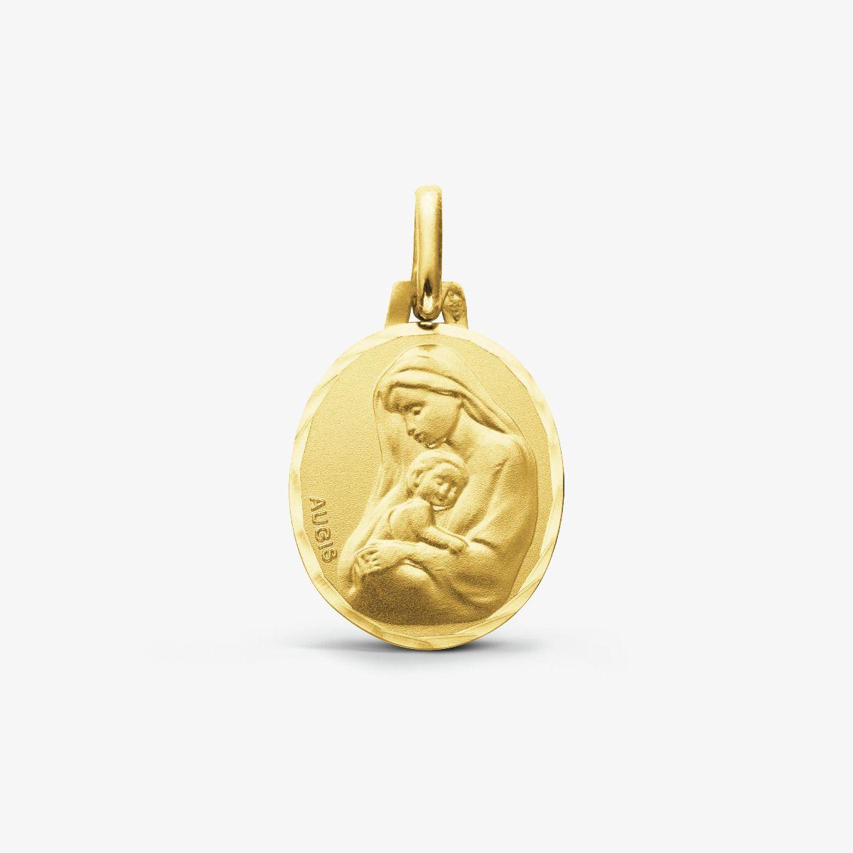 Médaille de baptême Vierge à l'enfant en or jaune 18 carats 16mm