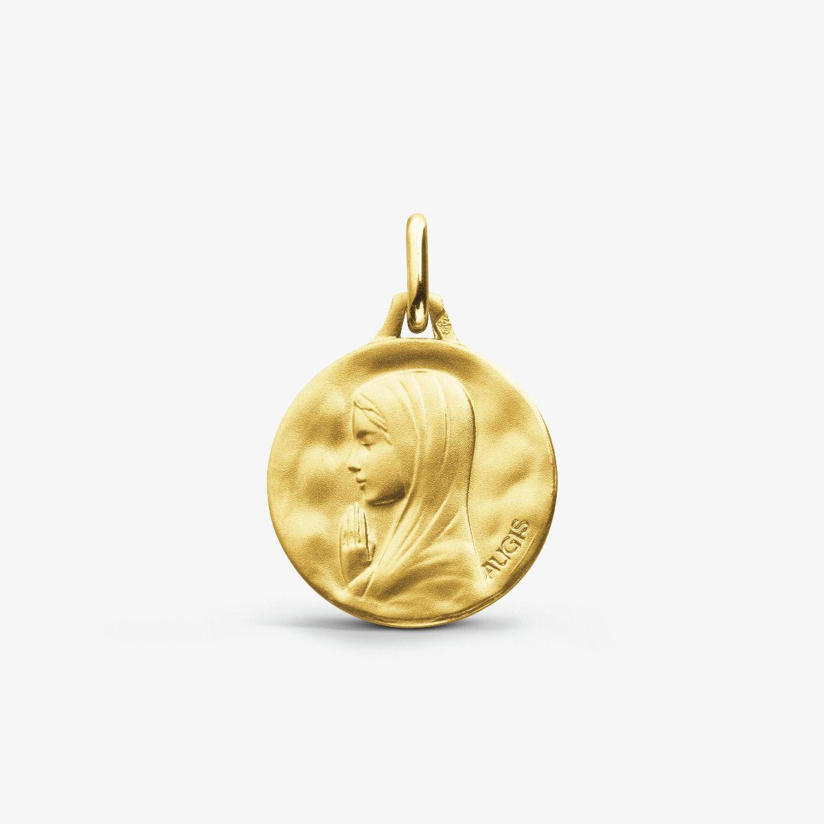 Médaille de baptême Vierge priante or jaune 18 carats 14mm