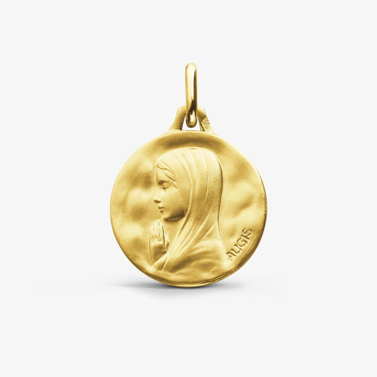 Médaille Vierge aux Mains Jointes Or Jaune 18 carats - 18 mm