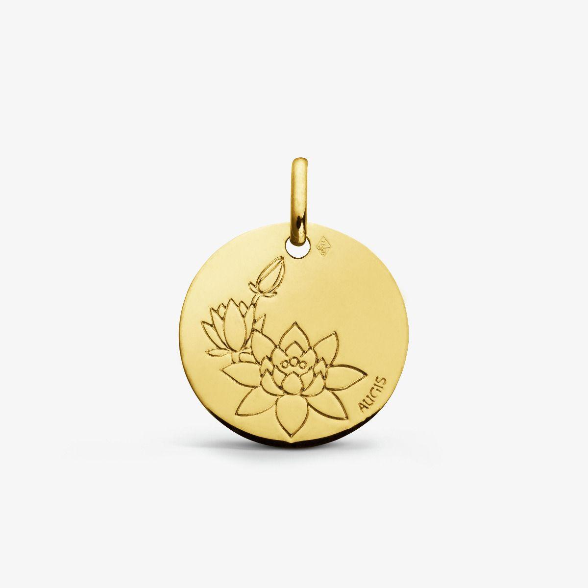 Médaille Fleur de Lotus Or Jaune 18 carats - 16 mm
