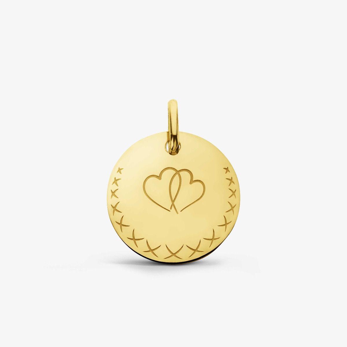 Médaille Love Bird Cœurs Or Jaune 18 carats - 16 mm