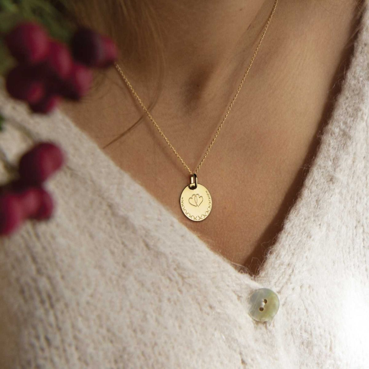 Médaille Love Bird cœurs entrelacés