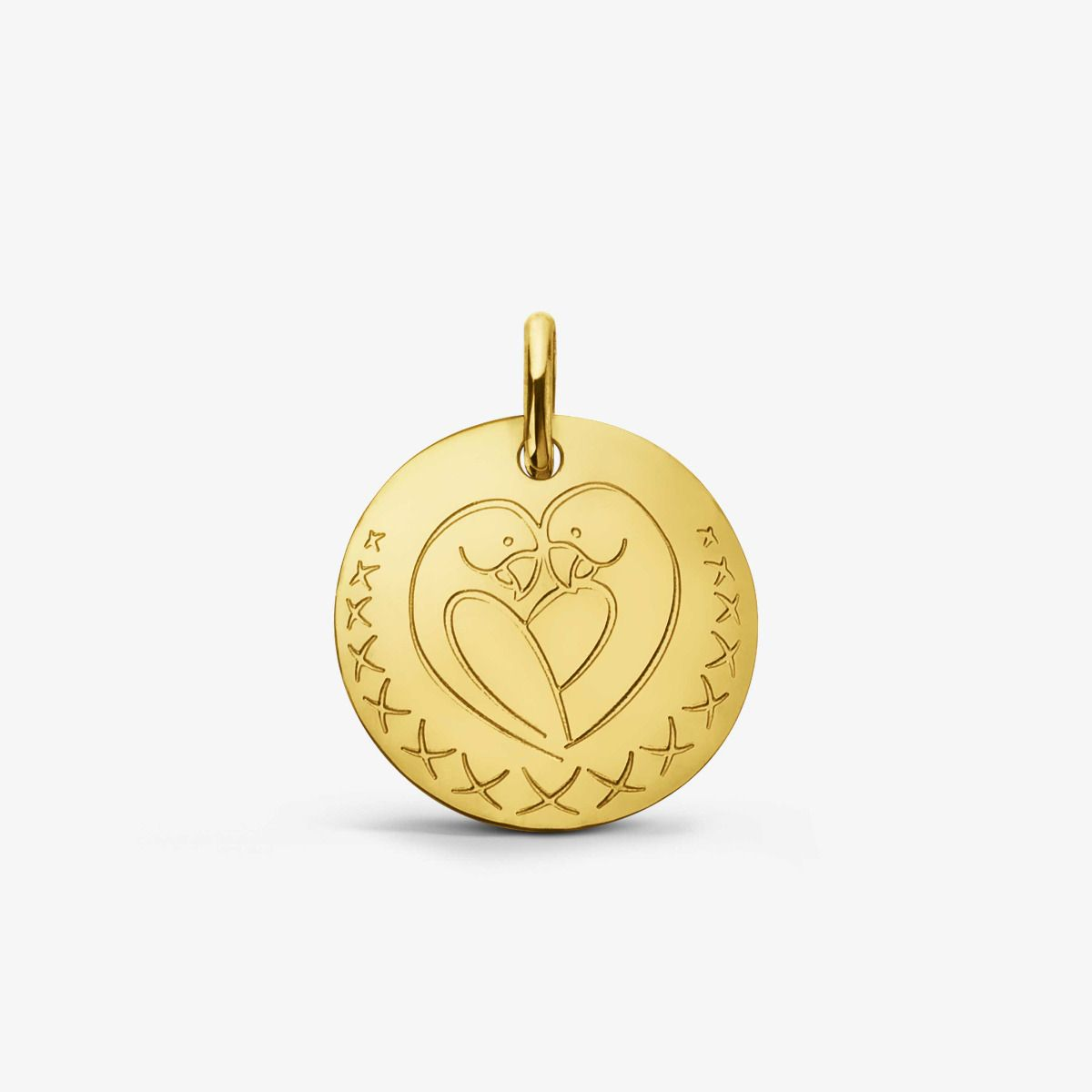 Médaille Love Bird Or Jaune 18 carats - 16 mm