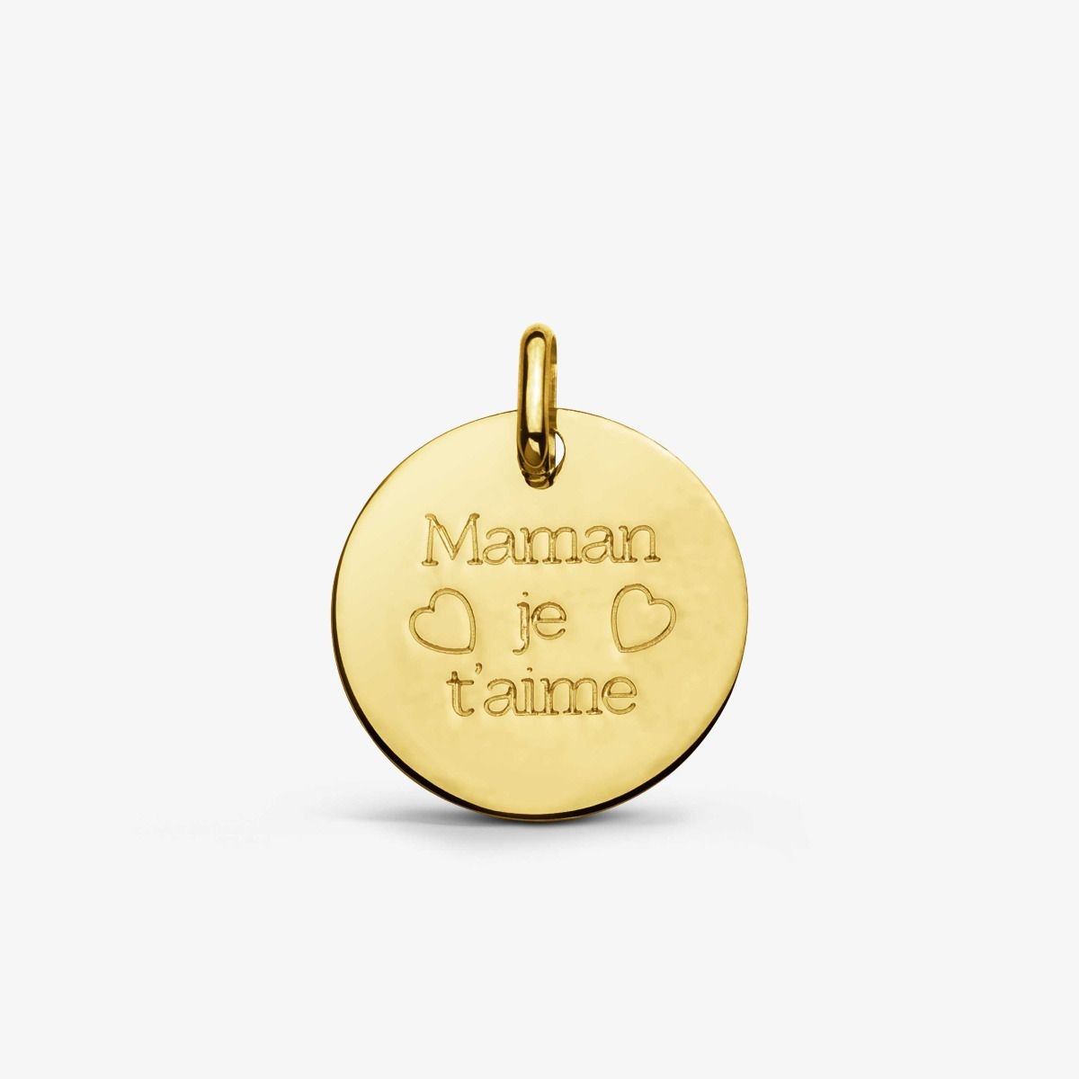Médaille Maman je t'aime - Or Jaune 18 carats - 16mm