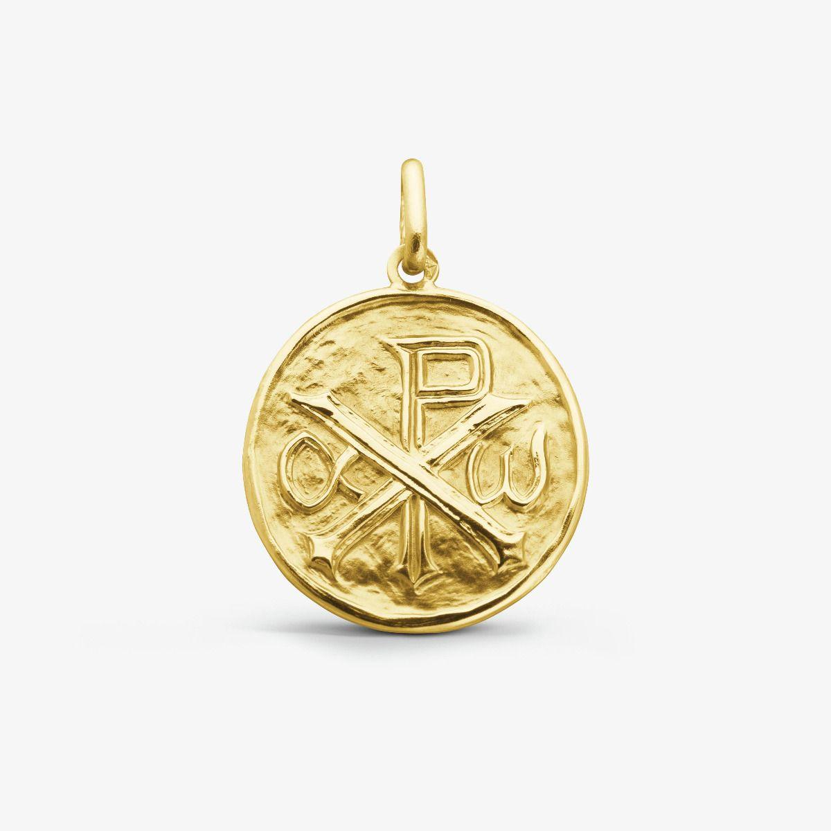 Médaille ronde Monogramme du Christ Or Jaune 18 carats - 18 mm